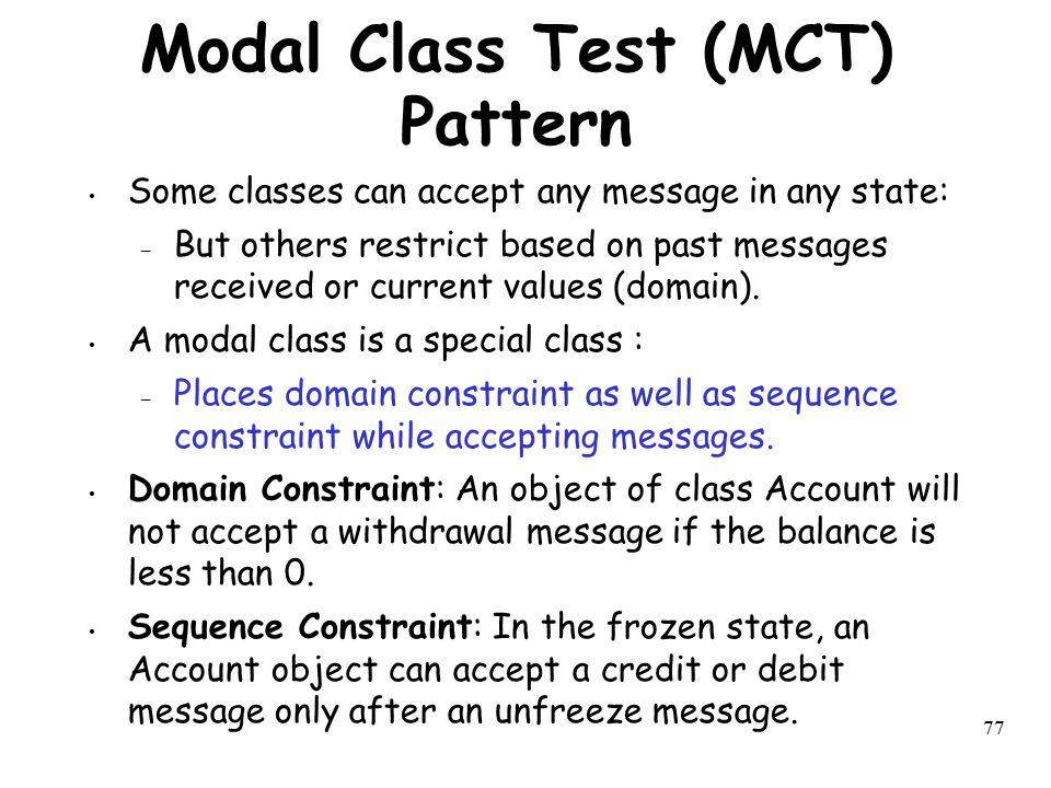 Modal Class Test (MCT) Pattern