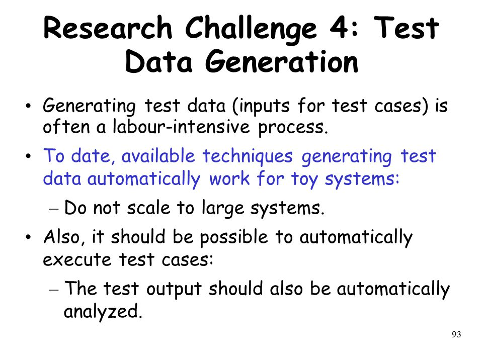 Research Challenge 4: Test Data Generation