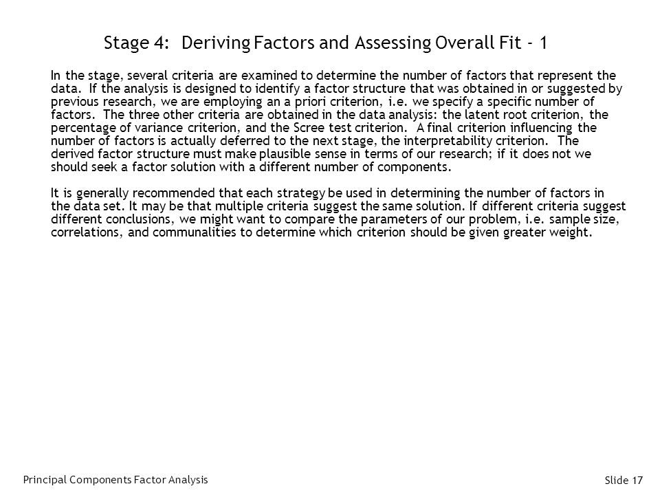 Stage 4: Deriving Factors and Assessing Overall Fit - 1