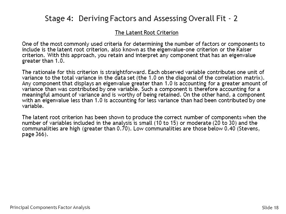 Stage 4: Deriving Factors and Assessing Overall Fit - 2
