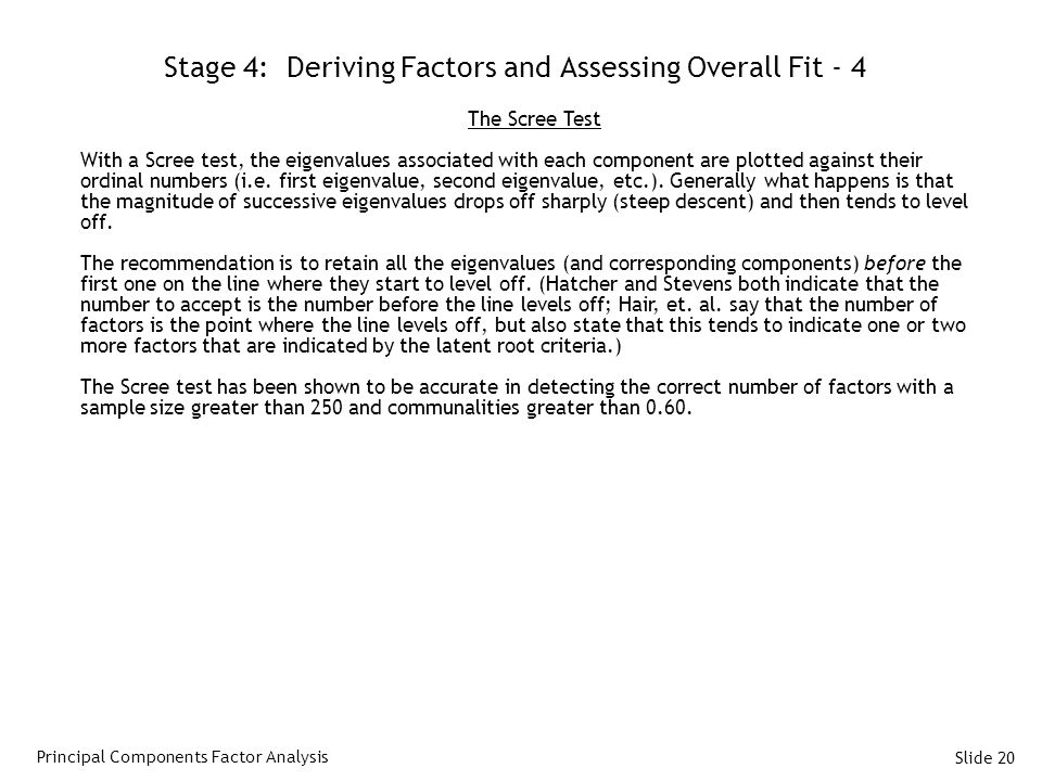 Stage 4: Deriving Factors and Assessing Overall Fit - 4