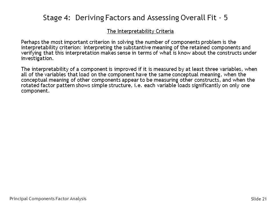 Stage 4: Deriving Factors and Assessing Overall Fit - 5