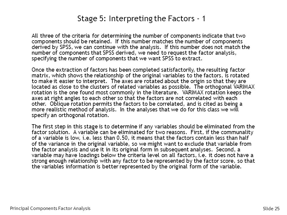 Stage 5: Interpreting the Factors - 1