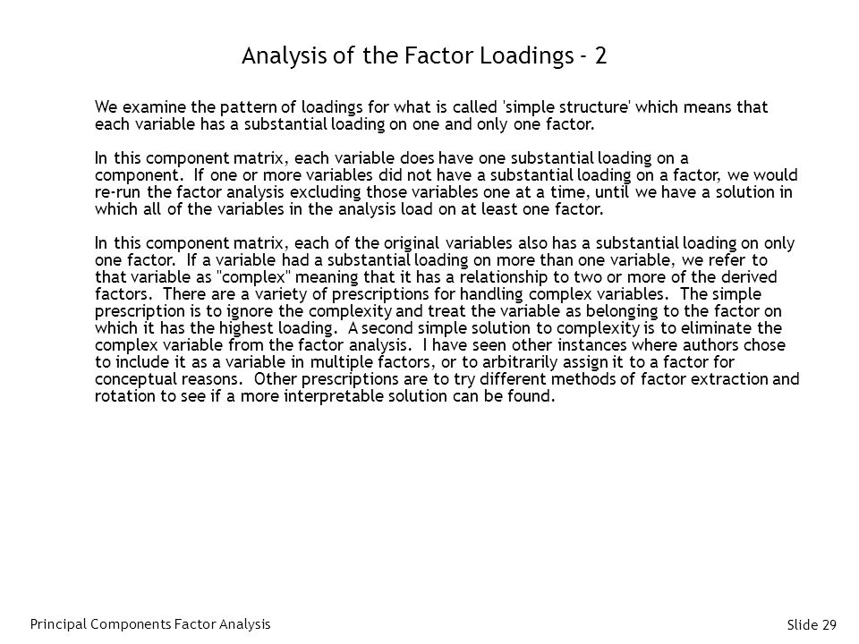 Analysis of the Factor Loadings - 2