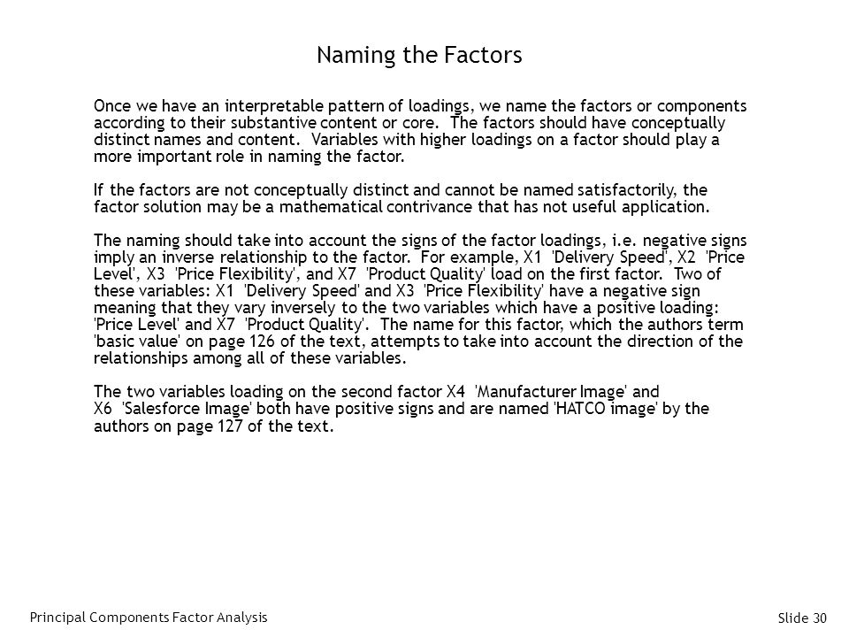 Naming the Factors