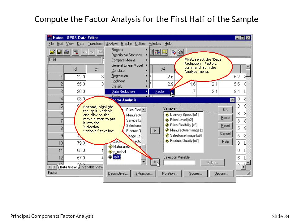 Compute the Factor Analysis for the First Half of the Sample