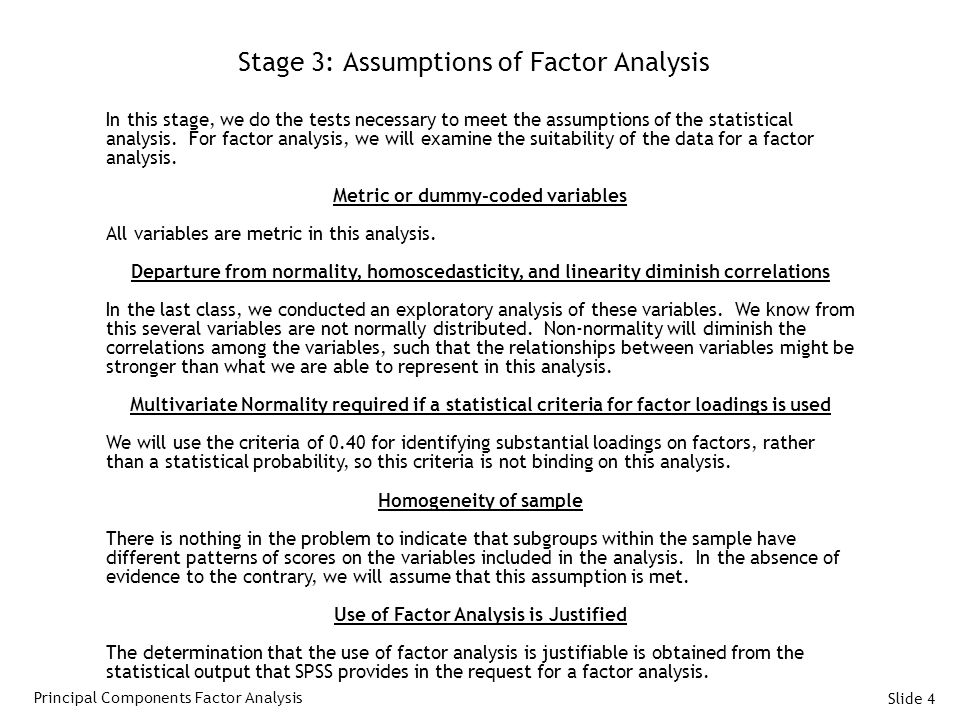 Stage 3: Assumptions of Factor Analysis