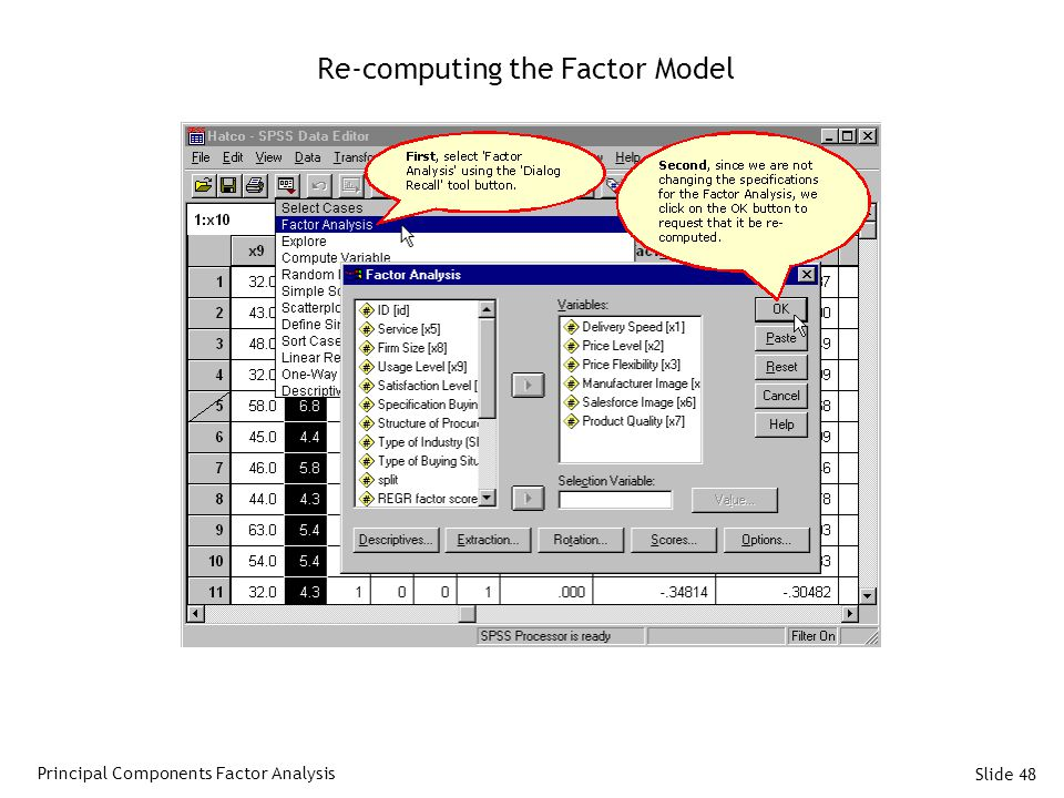 Re-computing the Factor Model
