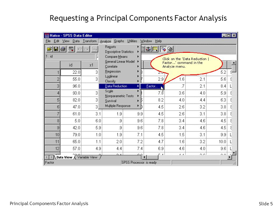 Requesting a Principal Components Factor Analysis