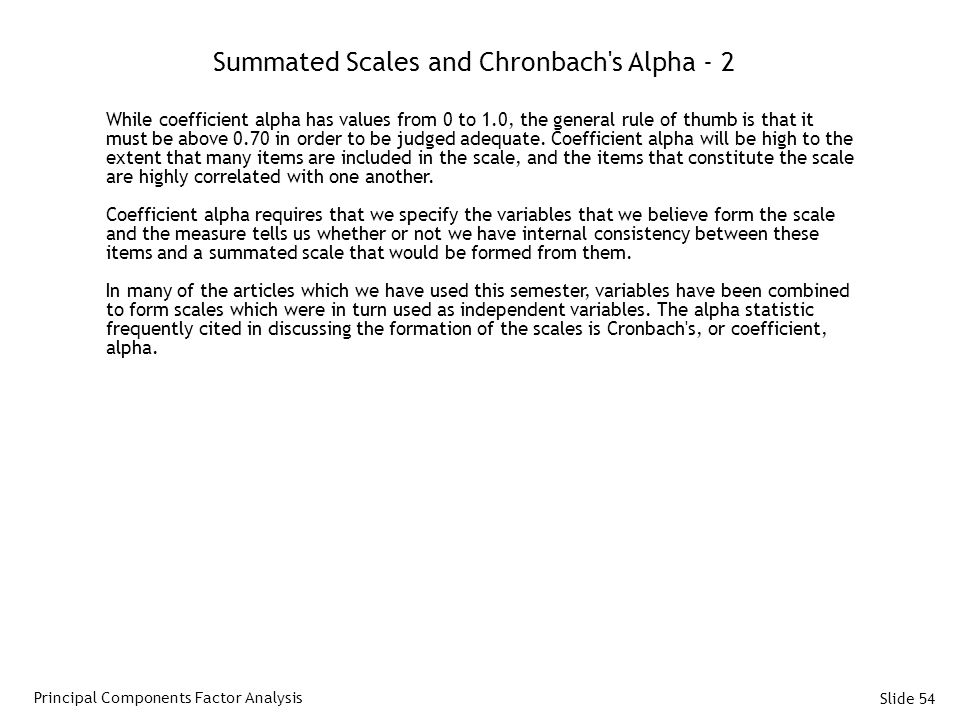 Summated Scales and Chronbach s Alpha - 2