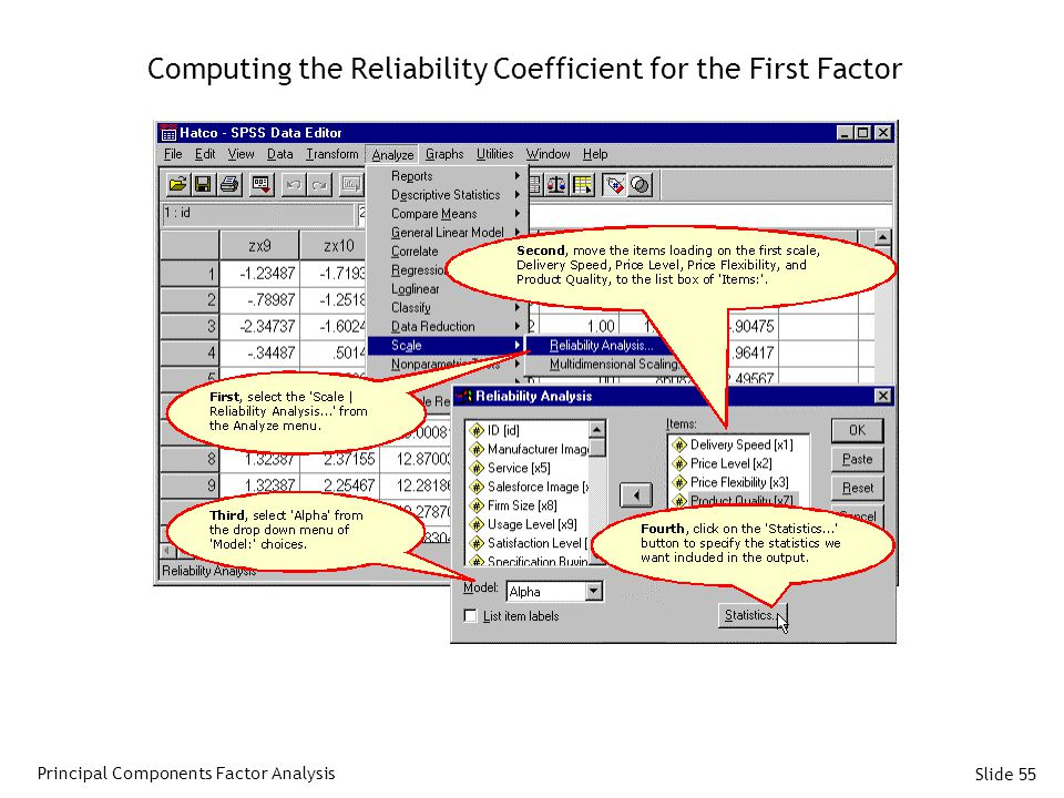 Computing the Reliability Coefficient for the First Factor