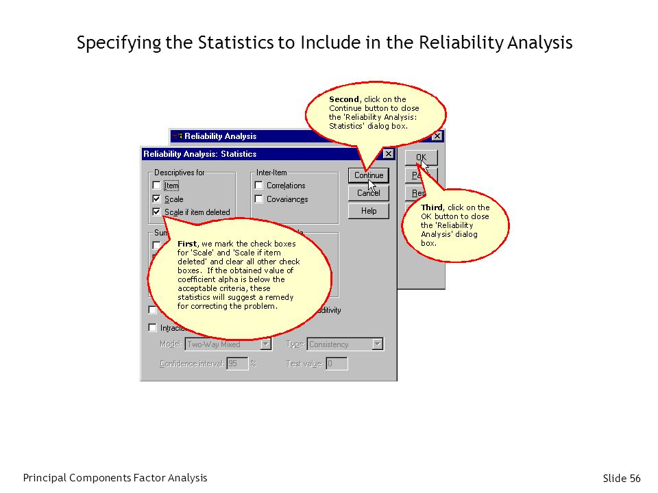 Specifying the Statistics to Include in the Reliability Analysis