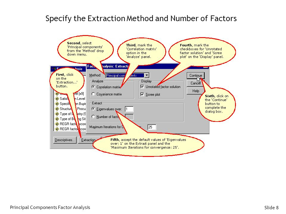 Specify the Extraction Method and Number of Factors
