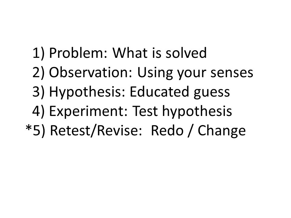 1) Problem: What is solved 2) Observation: Using your senses 3) Hypothesis: Educated guess 4) Experiment: Test hypothesis *5) Retest/Revise: Redo / Change