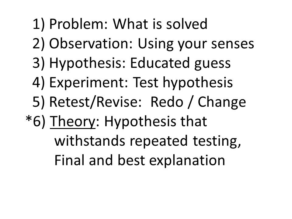 1) Problem: What is solved 2) Observation: Using your senses 3) Hypothesis: Educated guess 4) Experiment: Test hypothesis 5) Retest/Revise: Redo / Change *6) Theory: Hypothesis that withstands repeated testing, Final and best explanation