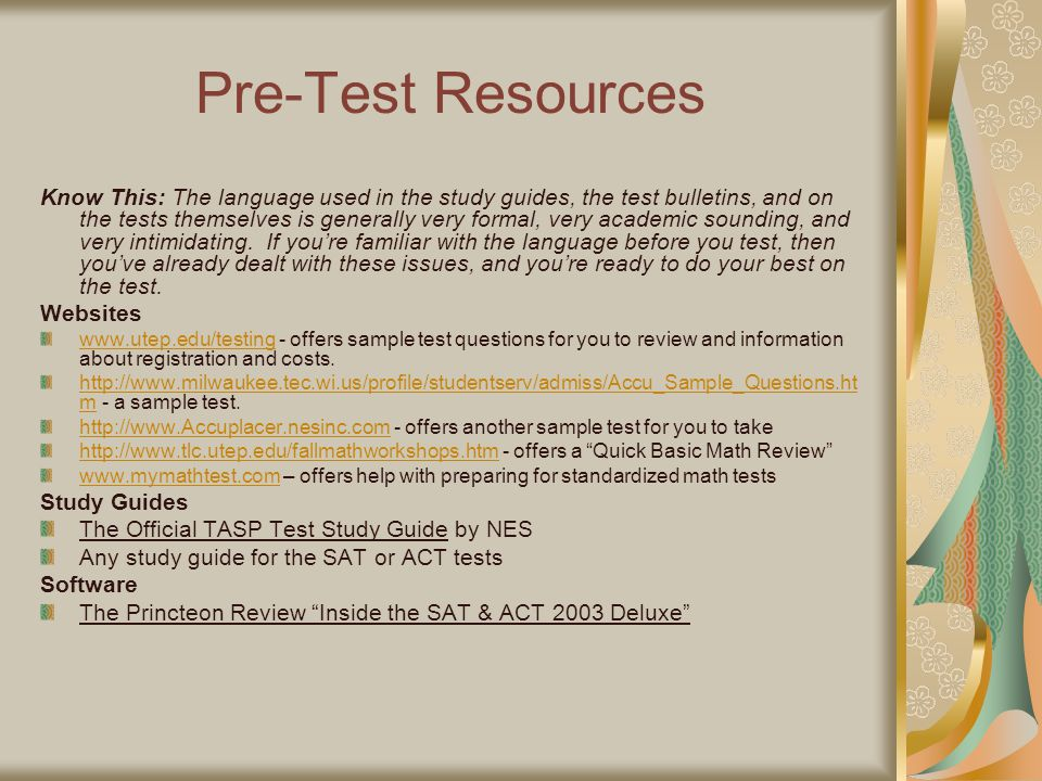 Pre-Test Resources