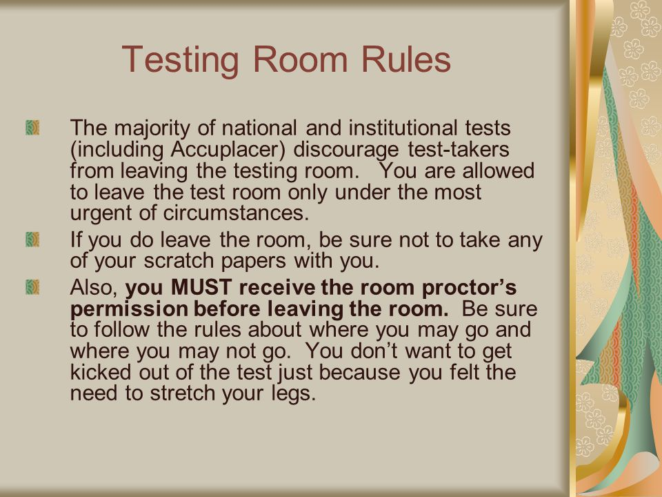 Testing Room Rules