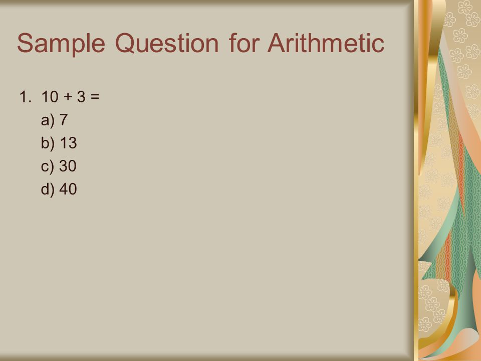 Sample Question for Arithmetic