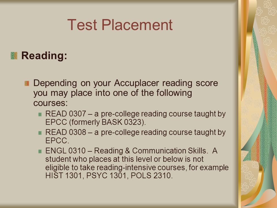 Test Placement Reading: