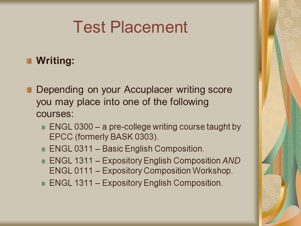 Test Placement Writing: