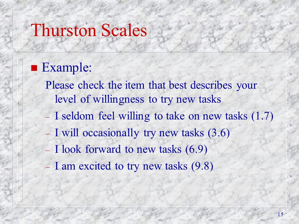 Thurston Scales Example: