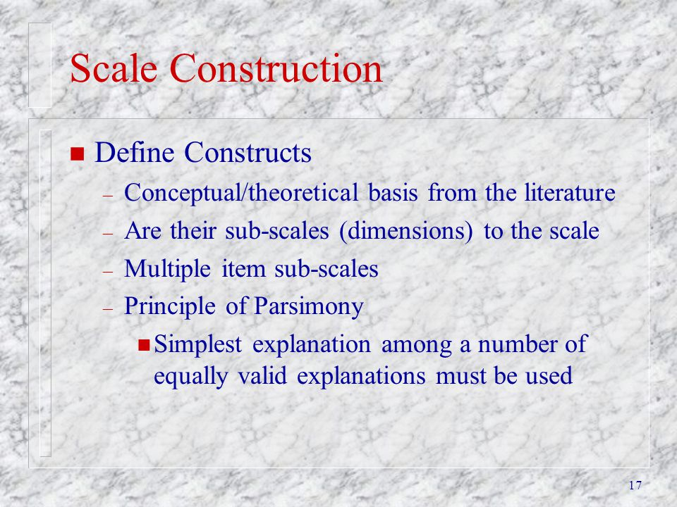 Scale Construction Define Constructs