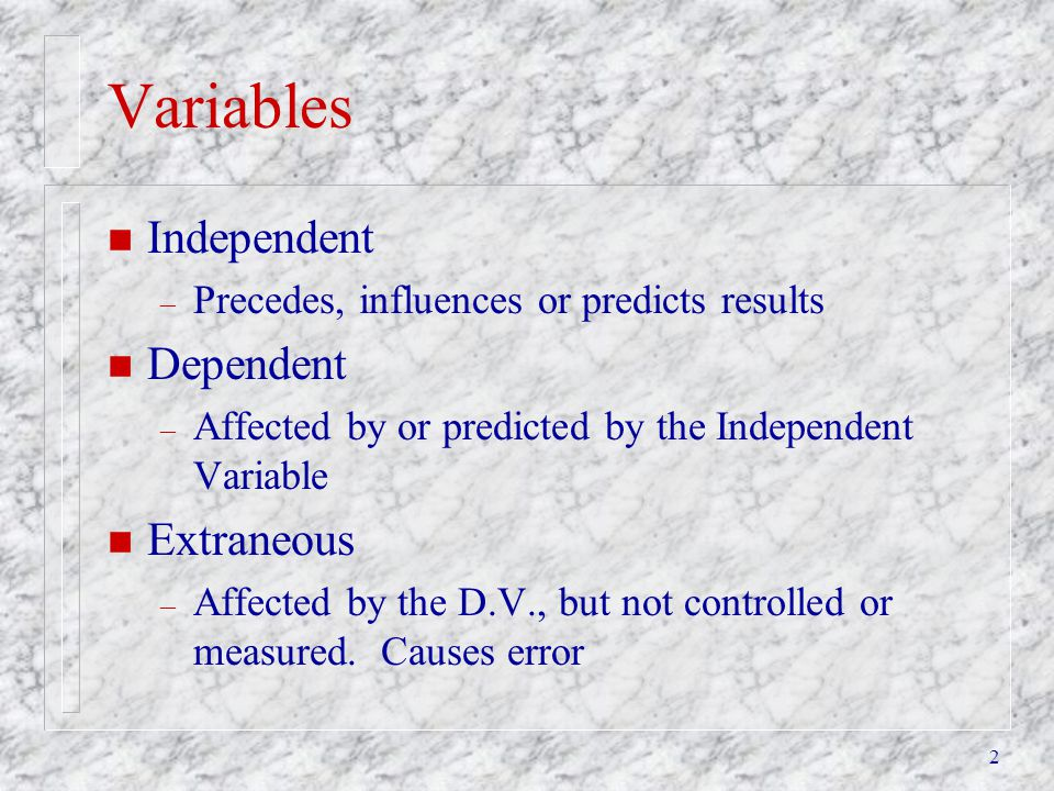 Variables Independent Dependent Extraneous