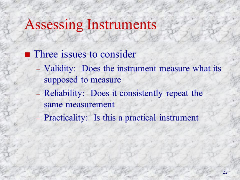 Assessing Instruments