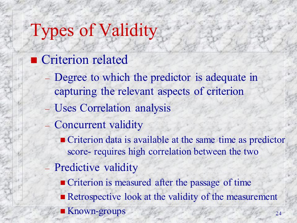 Types of Validity Criterion related