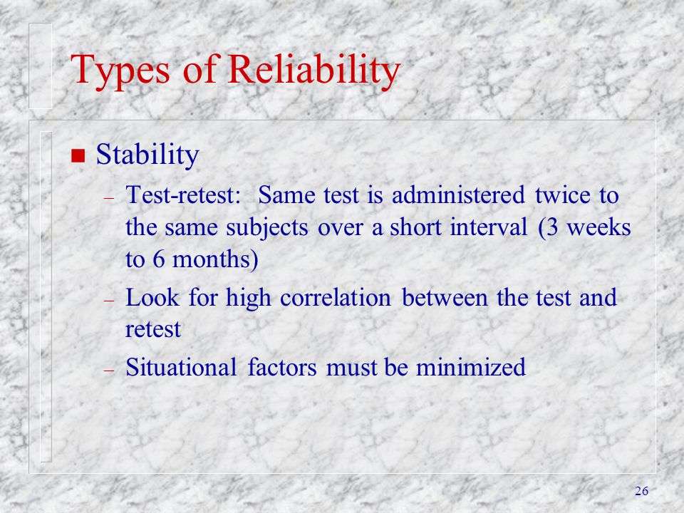 Types of Reliability Stability