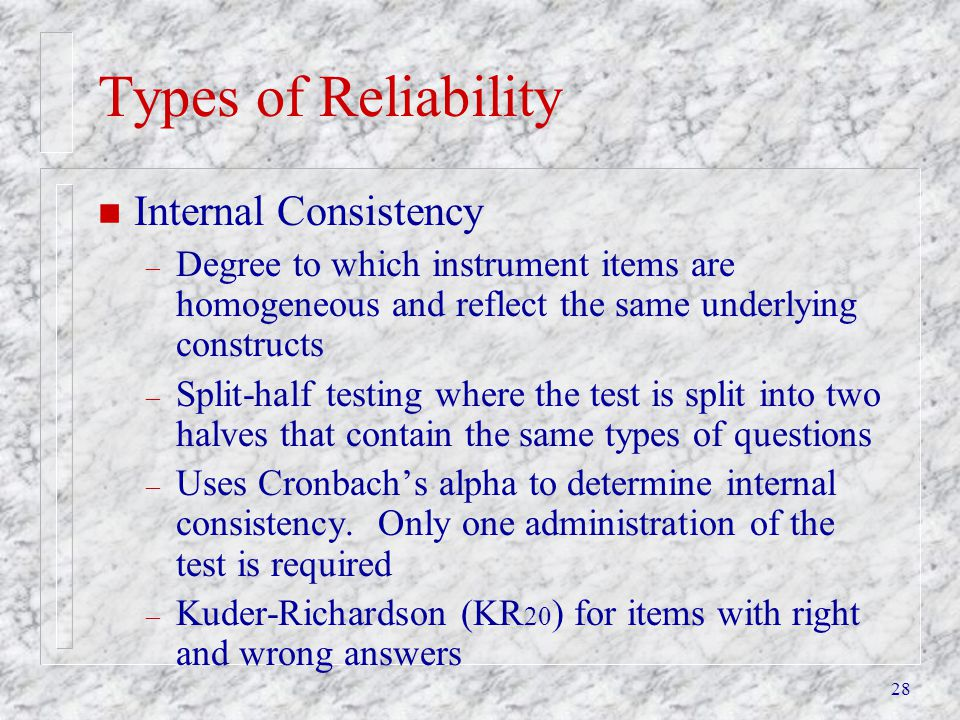 Types of Reliability Internal Consistency