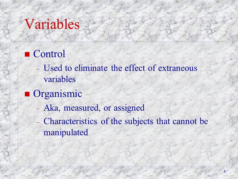 Variables Control Organismic