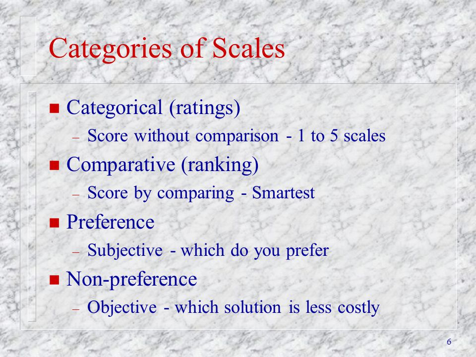Categories of Scales Categorical (ratings) Comparative (ranking)
