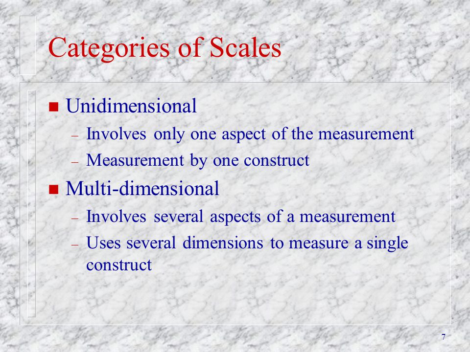 Categories of Scales Unidimensional Multi-dimensional