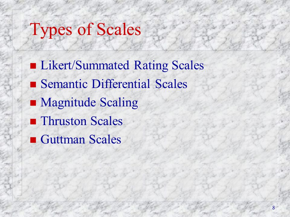 Types of Scales Likert/Summated Rating Scales