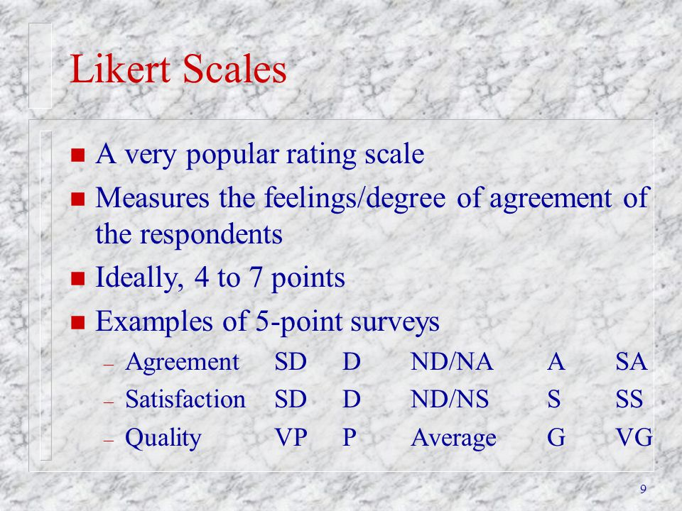 Likert Scales A very popular rating scale