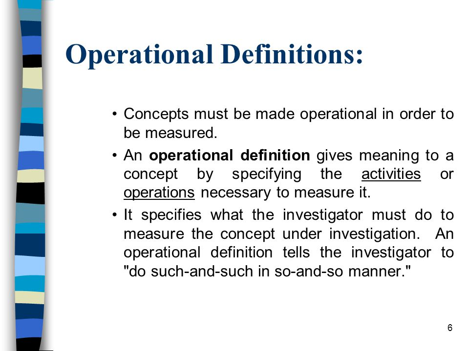 Operational Definitions: