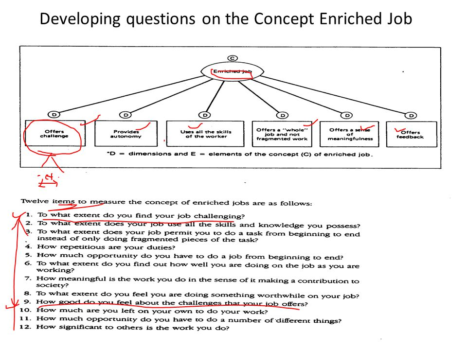 Developing questions on the Concept Enriched Job