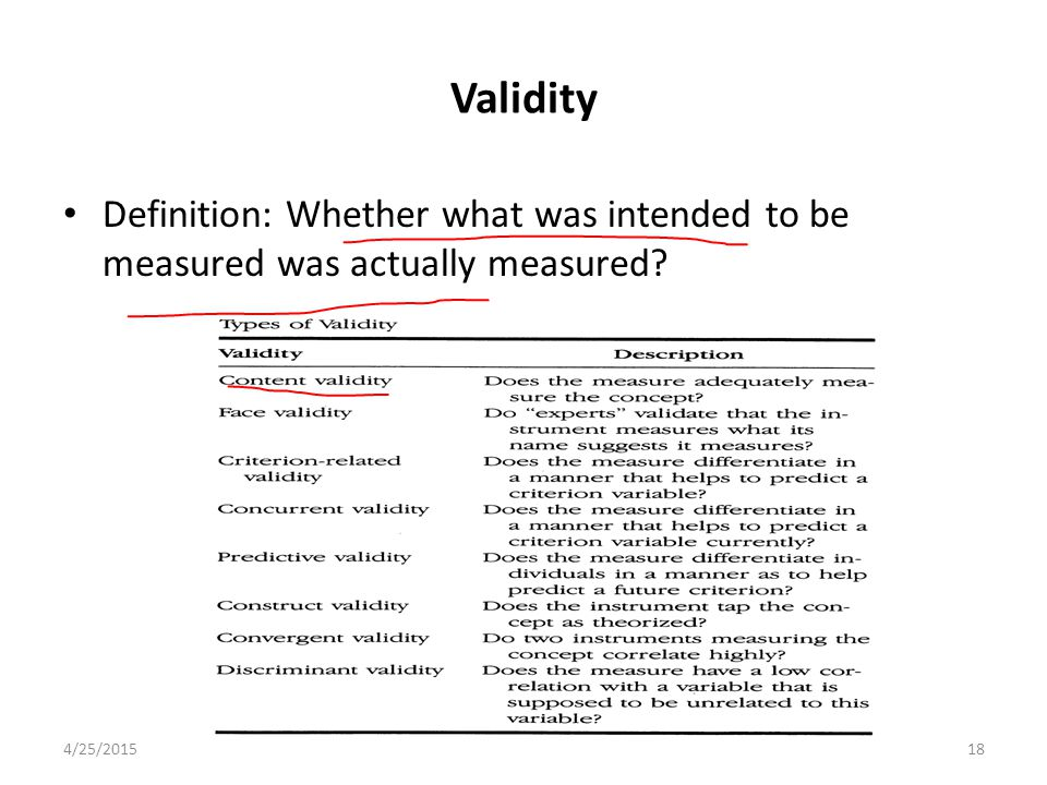 Validity Definition: Whether what was intended to be measured was actually measured 4/12/2017