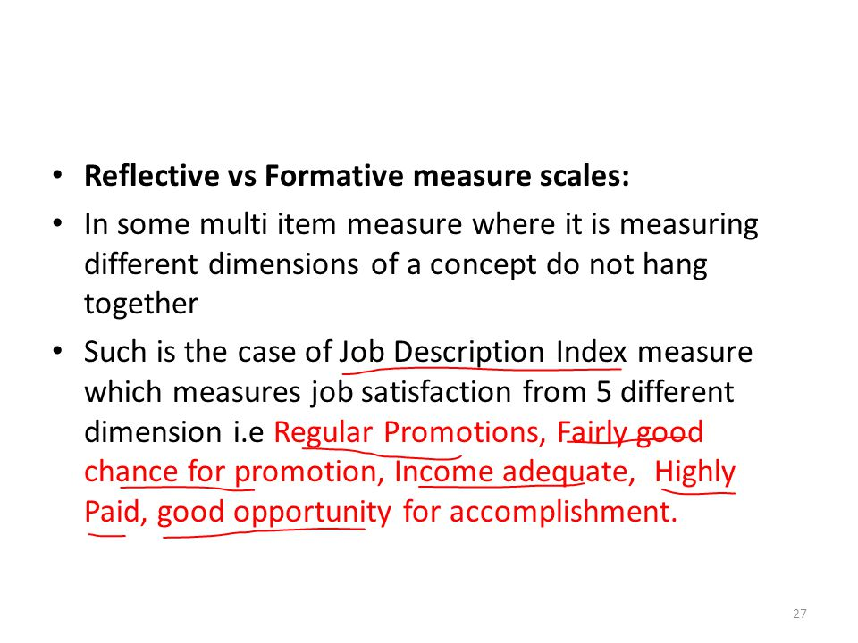 Reflective vs Formative measure scales: