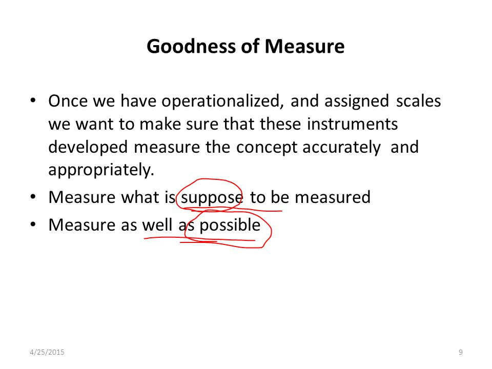 Goodness of Measure