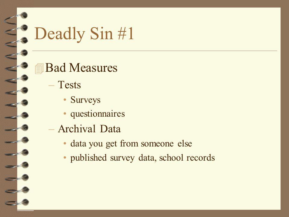 Deadly Sin #1 Bad Measures Tests Archival Data Surveys questionnaires