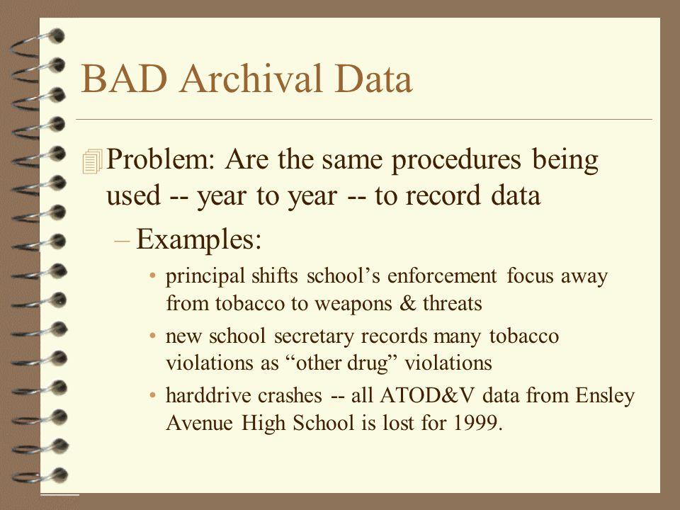 BAD Archival Data Problem: Are the same procedures being used -- year to year -- to record data. Examples: