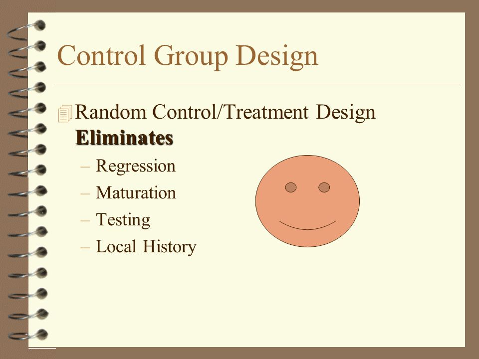 Control Group Design Random Control/Treatment Design Eliminates