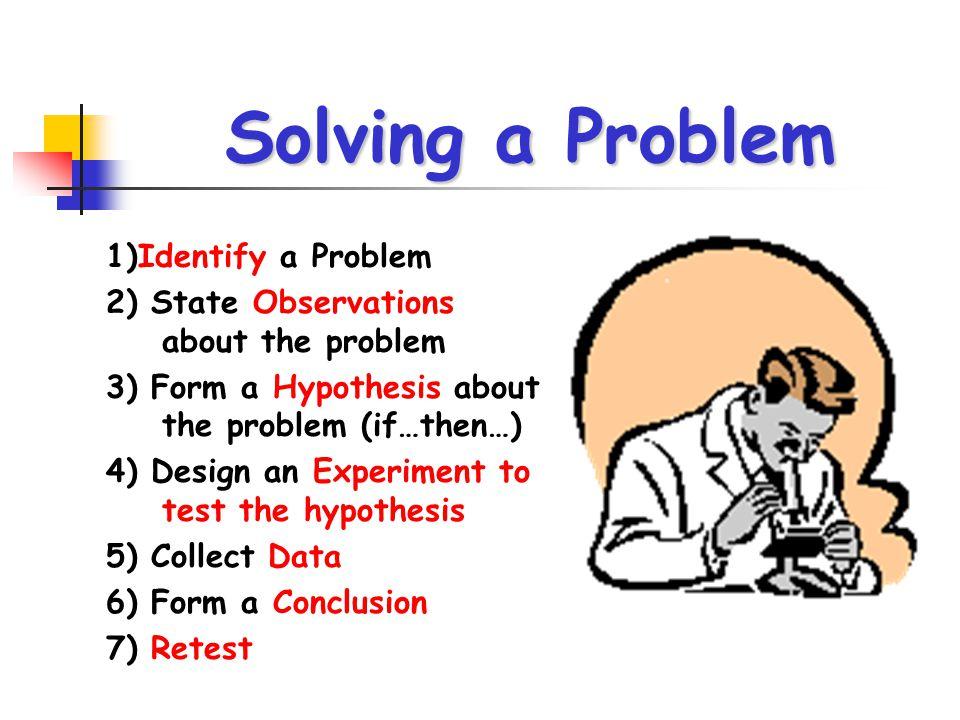 Solving a Problem 1)Identify a Problem