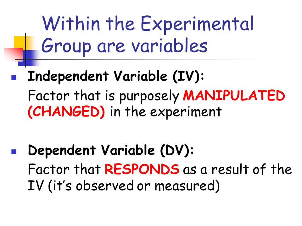 Within the Experimental Group are variables