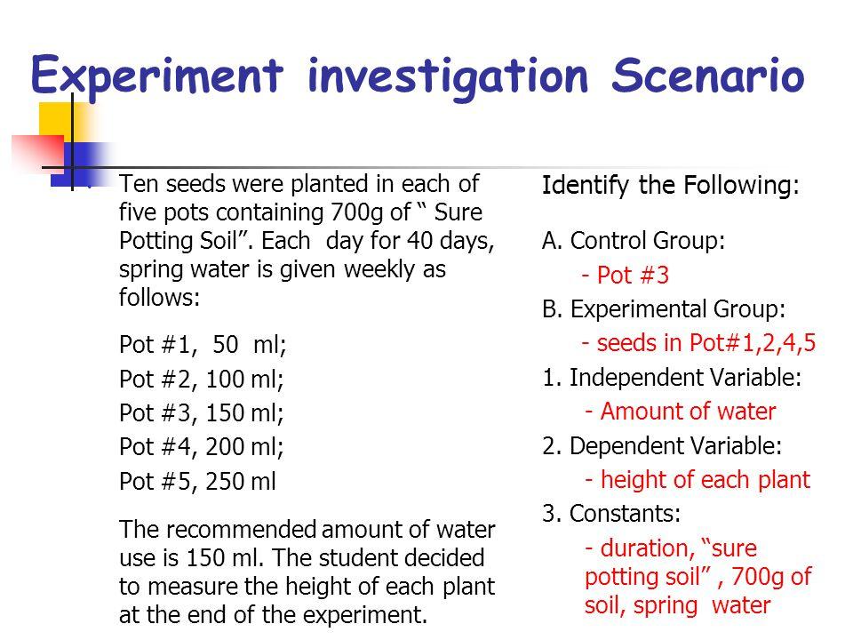 Experiment investigation Scenario