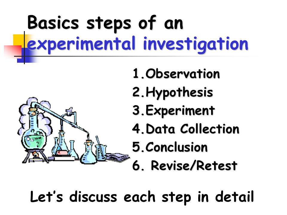 Basics steps of an experimental investigation