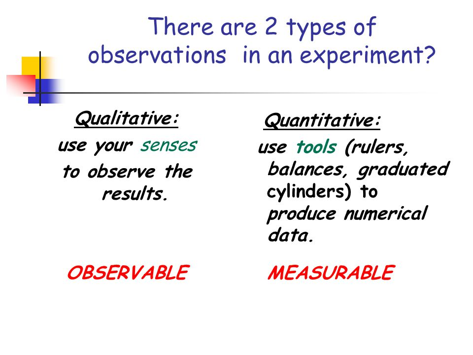 There are 2 types of observations in an experiment
