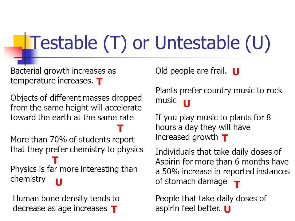 Testable (T) or Untestable (U)